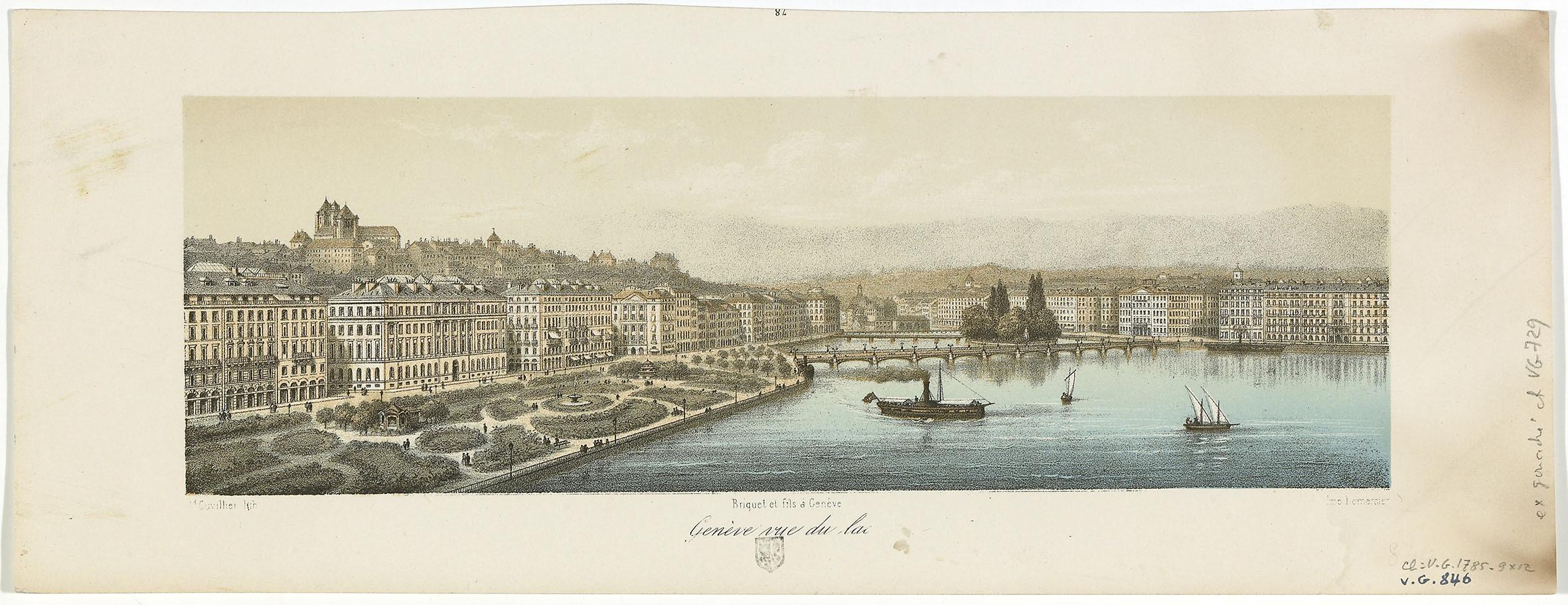 Genève, vue de la ville depuis le lac©BGE, Centre d'iconographie genevoise