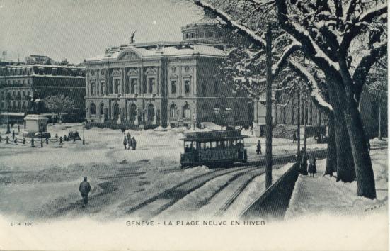 ancien tram 12 en hiver-Place Neuve