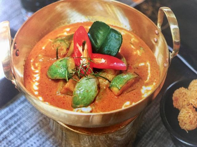 Curry jaune d'aubergine au lait de coco